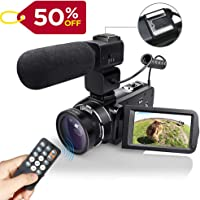 WiFI Camcorder Video Camera with External Microphone Full HD 1080P 30FPS 24MP 16X Digital Zoom Remote Control Video Camera, Handheld Digital Camera Recorder with Wide Angle Lens, 2 Batteries(Z20)