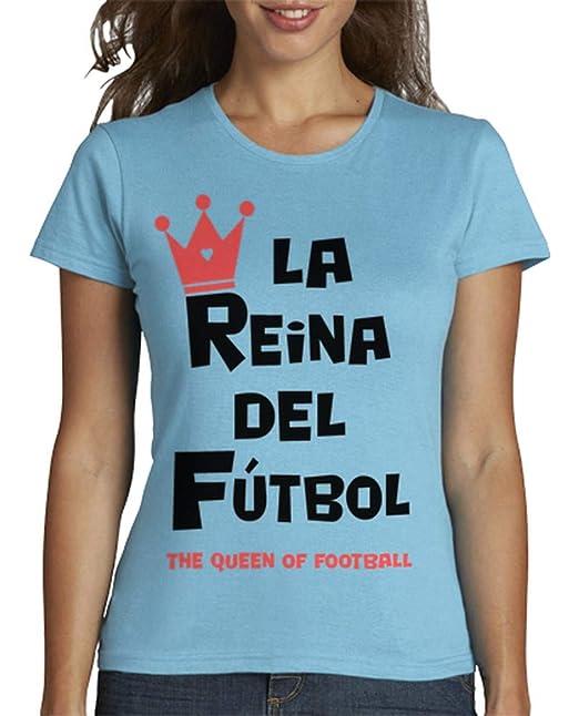 latostadora - Camiseta la Reina del Ftbol para Mujer Azul Cielo S