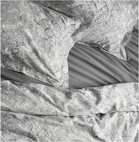 Envogue Bedding 3 Piece Duvet Cover Set Paisley Medallion Pattern in Shades of Blue Taupe Gray White (Queen, Silver) ()