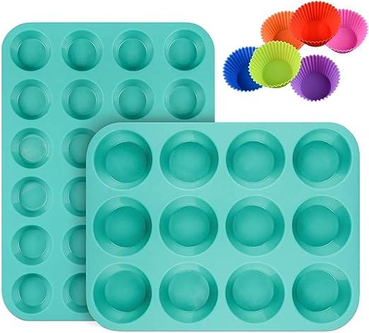 Amazon.com: Juego de moldes de silicona para magdalenas, 24 ...