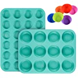 Silicone Muffin Pan Cupcake Set - Mini 24 Cups and Regular 12 Cups Muffin Tin, Nonstick BPA Free Food Grade Silicone…