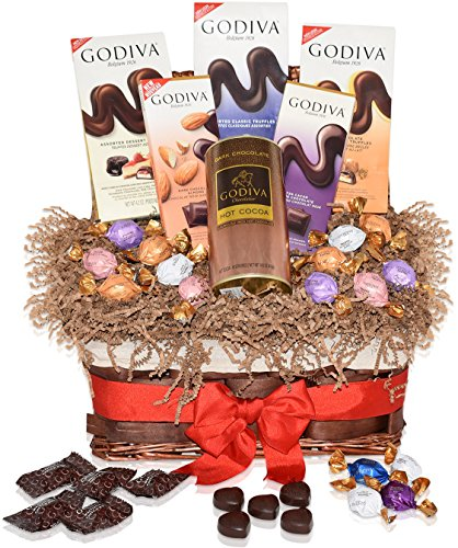Godiva Christmas Chocolate Variety Gift Pack - Mixed Gift Basket with Godiva Chocolate Truffles, Hot Cocoa and more