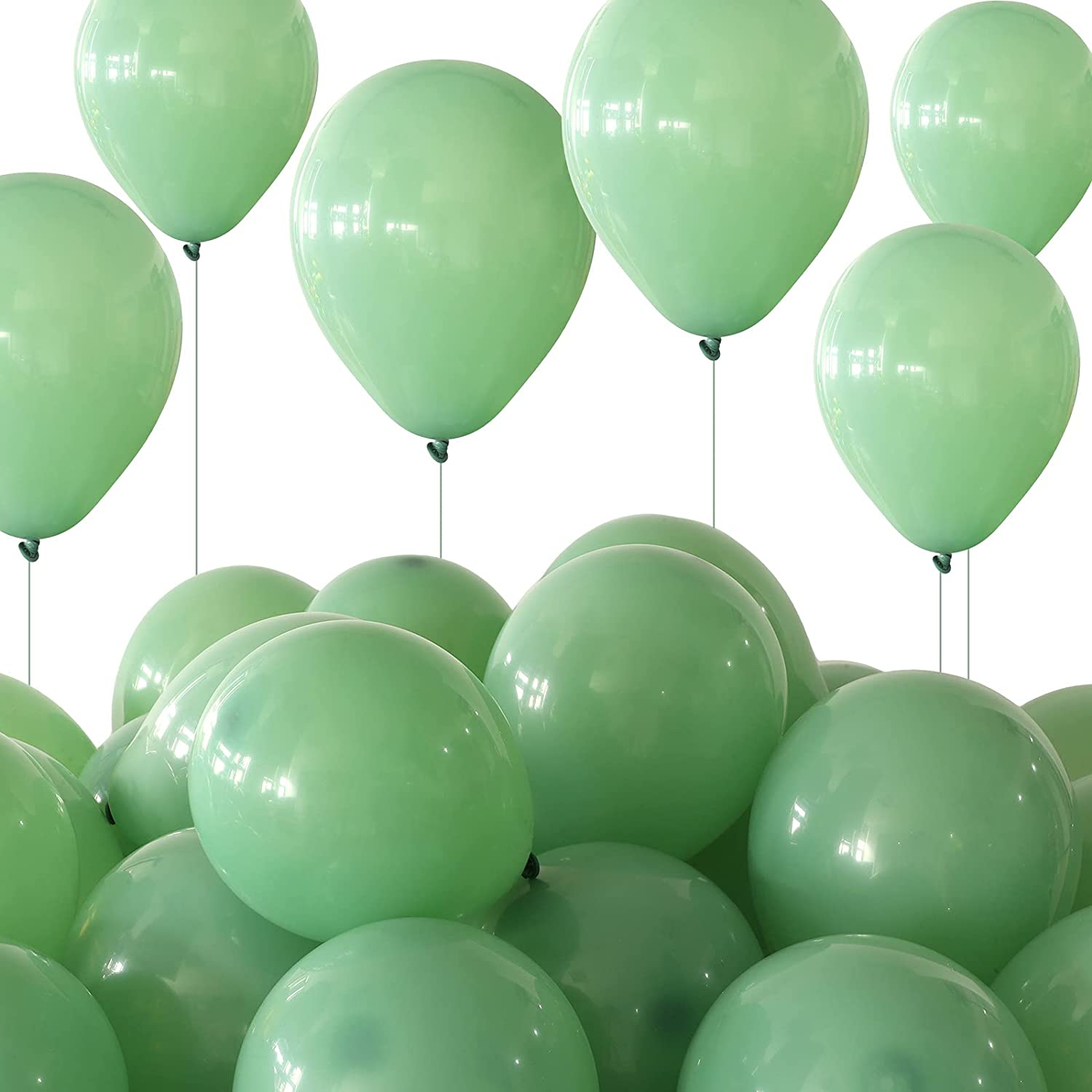 100 Pieces 5 Inches Balloon Latex Balloons Eucalyptus Party Latex Balloon for Wedding Birthday Baby Shower Theme Party Decoration (Grass Green)