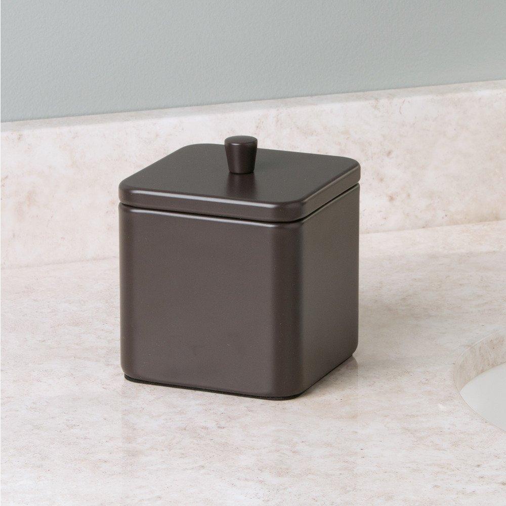 Stahl Wattest/äbchen Wattepads 8,9 x 8,9 x 10,5 cm iDesign 16879EU Gia Bad-Waschtisch-//Quadratischer Beh/älter f/ür Watteb/äusche matt braun