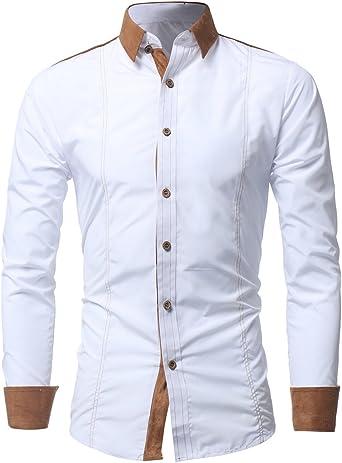 Kuson Camisa Hombre de Vestir Manga Larga Slim Fit Moda Moda Camisa del negocio: Amazon.es: Ropa y accesorios