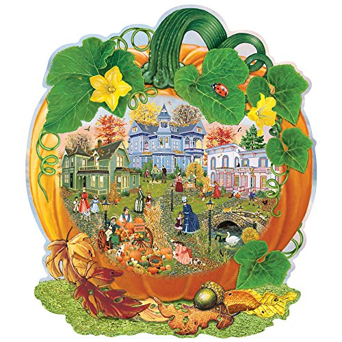 1000 Piece Shaped Jigsaw Puzzle - Bits and Pieces - 750 Piece Shaped Jigsaw Puzzle for Adults - Harvest Village Pumpkin - 750 pc Fall, Autumn Halloween Jigsaw by Artist Rosiland Solomon