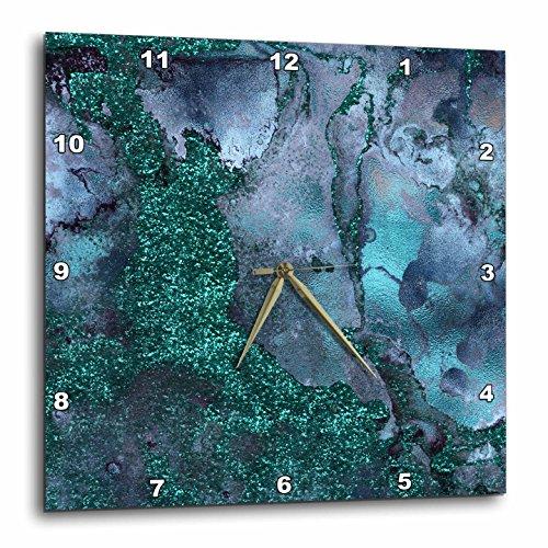 3dRose Uta Naumann Luxury Gemstone Marble Background - Blue and Teal Ombre Gemstone Ink Glitter Marble - 13x13 Wall Clock (Gemstone Clock)
