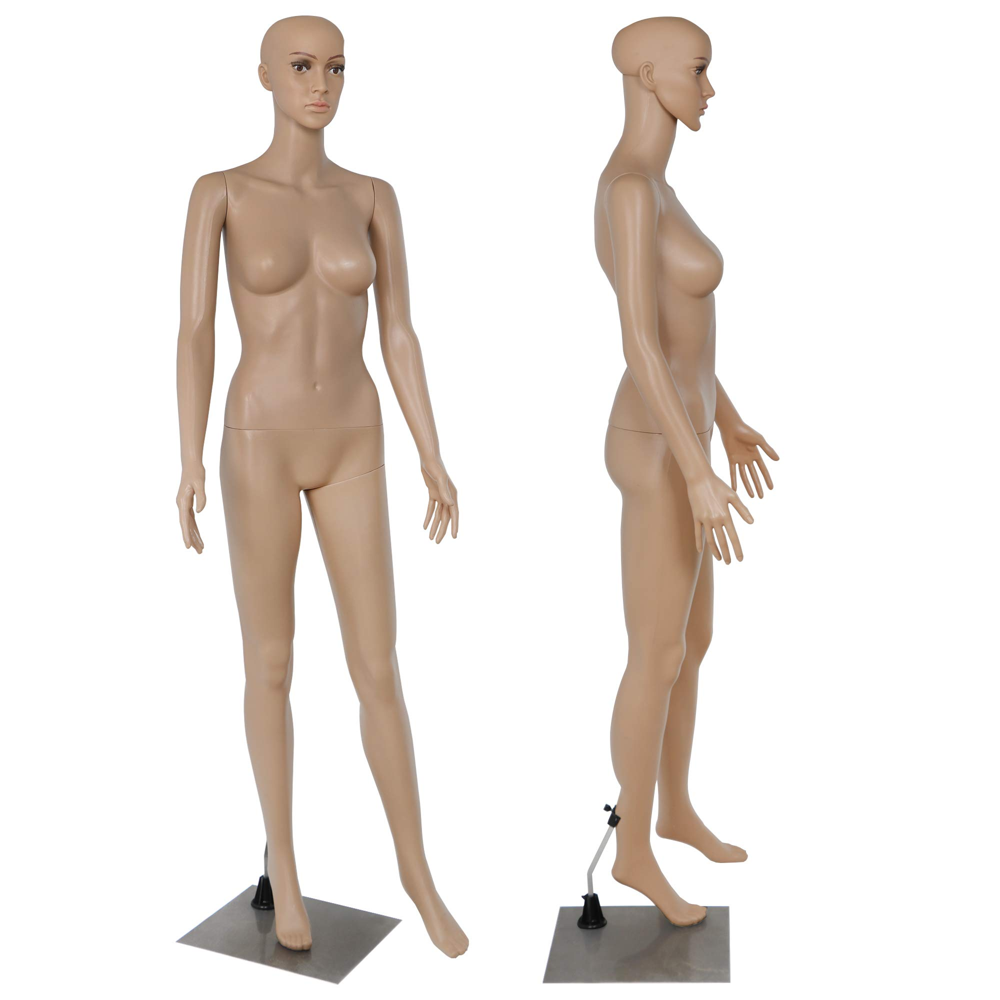 ZENY Full Body 68.9'' Height Realistic Female Mannequin Display Head Turns Dress Form w/Base, Detachable Plastic Slapped Adjustable Dressmaker Dummy Standing Adult Plastic Mannequin by ZENY