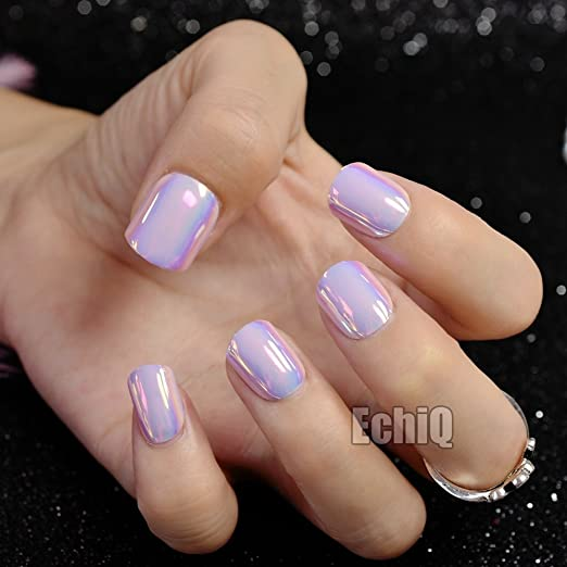 Amazon.com : Chrome Holographic Fake Nails Light Pink Mirror Shiny False Nails Finger Full Wrap DIY Nail Tips with Glue Stiker Z720 : Beauty