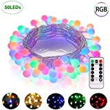 GREEMPIRE Globe String Lights, 50 LED Colored Outdoor String Lights, Battery Powered String Lights Waterproof, 18 Ft, Patio String Lights with Remote Control for Patio Garden Party Wedding Decoration