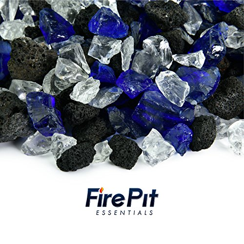 Assorted Volcanic Stones (Blended Fire Glass and Lava Rock - Mixed Fire Glass Blend of Colored Fire Pit Glass and Volcanic Rock for Indoor and Outdoor Gas Fire Pits and Fireplaces (Ocean Moonlight))