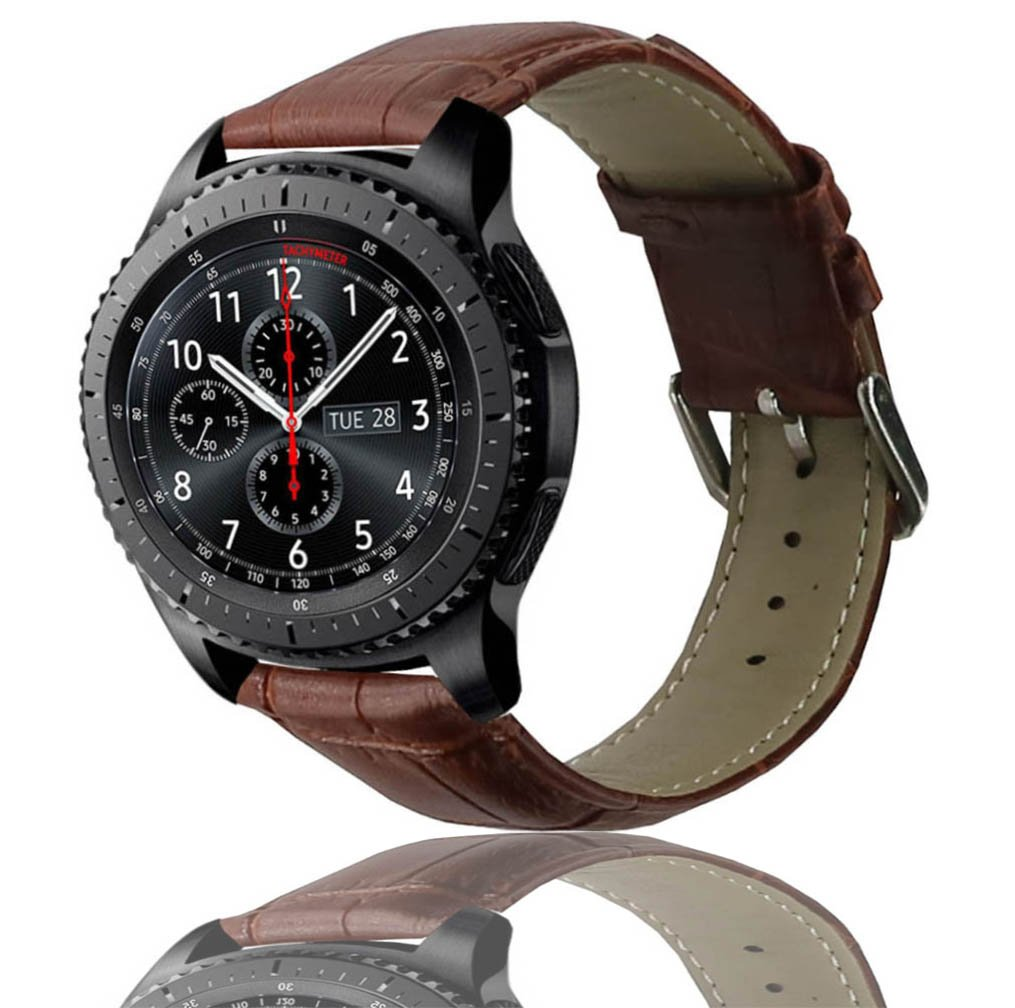 Ticwatch Pro & Gear S3 Bands, OTOPO Leather Replacement Wrist Band Bracelet Strap for Ticwatch Pro & Samsung Gear S3 & Galaxy Watch 46mm Smartwatch ...