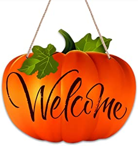 "SICOHOME Pumpkin Welcome Sign Harvest,9.3""x 11"" Thanksgiving Hanging Sign Fall Decorations for Halloween Autumn Harvest Thanksgiving Decoration Home House Kitchen Decor"