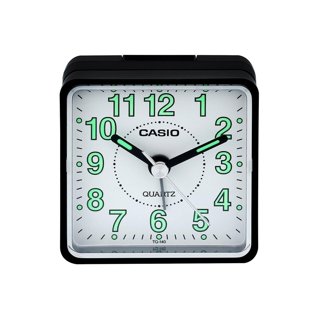 Casio TQ140 Travel Alarm Clock - Bla Clock Radios TQ-140-1B-BLK-WHITE CASTQ140-1B