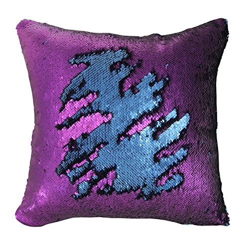 Fengheshun Reversible Sequins Pillowcase Mermaid Pillow Covers 40×40 cm Two Color Changing (27)