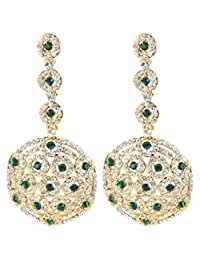 BriLove Women's Stylish Crystal Hollow Out Beaded Circle Drop Filigree Dangle Pierced Earrings