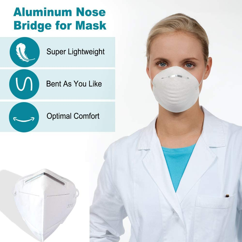 Nose Bridge Strips for Mask 100Pcs Face DIY Making Accessories for Sewing Crafts Adhesive Aluminum Metal Strip Wire