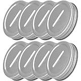 TiaoBug 8 Pieces Metal Coin Slot Bank Lids for Mason Jar Ball Canning Jars Silver One Size