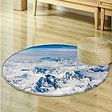Dining Room Home Bedroom Carpet Floor Mat Tibet scenery Non Slip rug-Round 35''