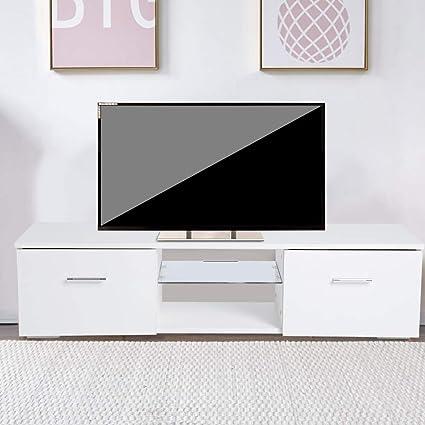 Zoternen Mobile Porta Tv Bianco Mobile Per Tv Da Soggiorno In Pannello Truciolare Con Led E 2 Cassetto 110 X 30 X 28cm Amazon It Casa E Cucina