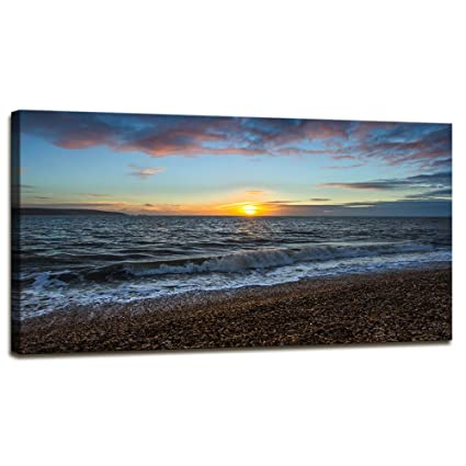 Amazon.com: Youshion Art Beach Canvas Wall Art Bright Sunset Coastal ...