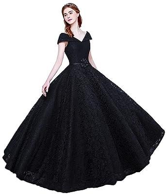 652b8ba661c YORFORMALS Cap Sleeve A-line Lace Prom Gown Quinceanera Dress Size 2 Black