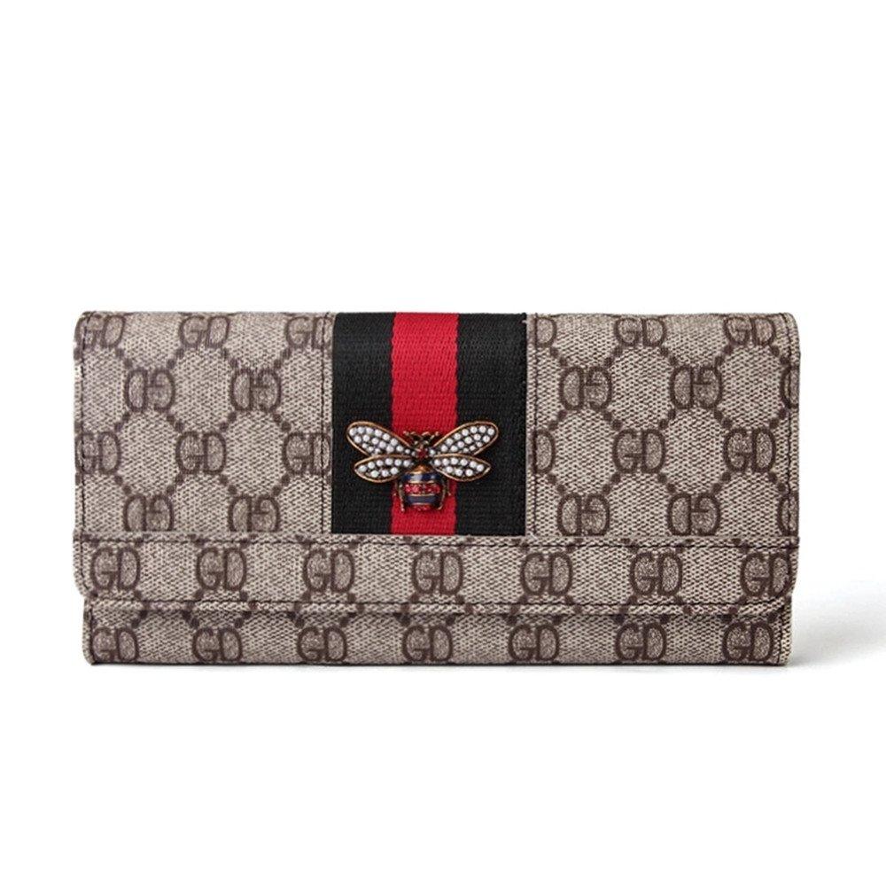 Van Persie Women Little Bee Compact Bi-fold Leather Purse Card Organizer Wallet (Grey)