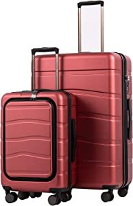 COOLIFE Luggage Suitcase Carry On 100% PC Spinner Trolley with Laptop pocket Compartmnet Luggage Set Weekend Bag (diamond red, 2-piece Set)