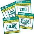 Extech PH103 4, 7 and 10 pH Tripak Buffer Pouches plus rinse solution kit