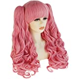 ANOGOL Hair Cap +Blue Cosplay Wig for Lolita Wig with Pigtail Blue Yellow Red Cosplay Wig