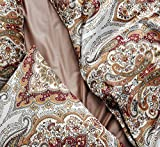 Tahari Home Duvet Quilt Cover Bohemian Style Moroccan Paisley Damask Medallion Print Cotton Sateen 3 Piece Bedding Set (King, Rust Copper)