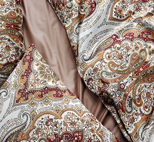 Tahari Home Duvet Quilt Cover Bohemian Style Moroccan Paisley Damask Medallion Print Cotton Sateen 3 Piece Bedding Set (King, Rust Copper) (Duvet Style Moroccan)