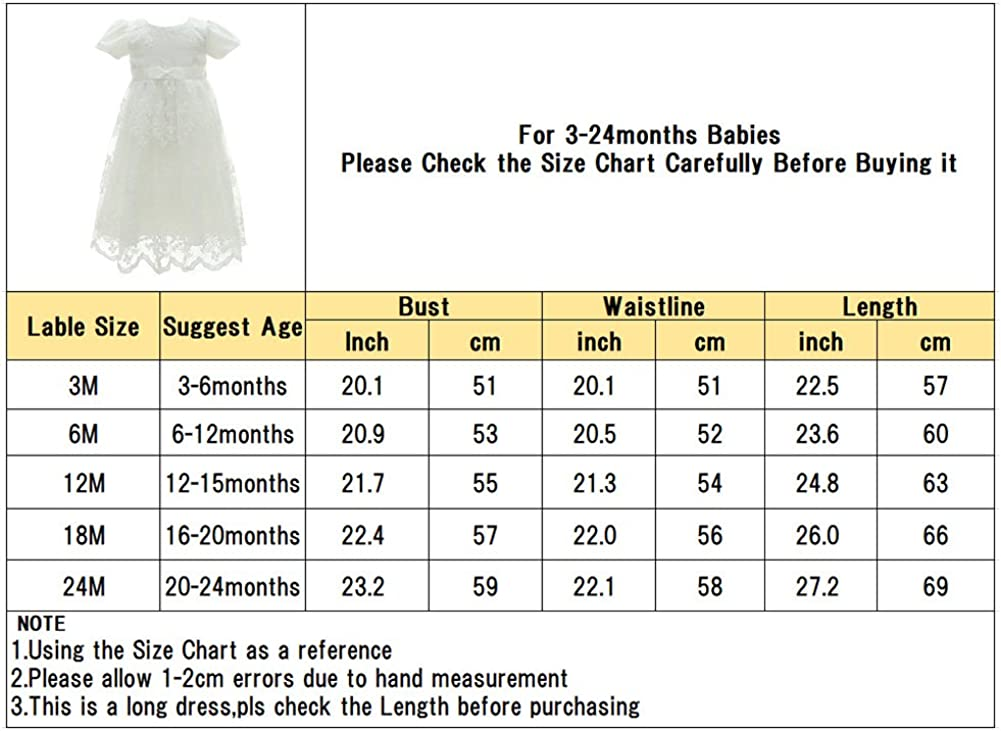 Coozy Baby Girl Dress Flower Christening Baptism Gown Formal Party Special Occasion Dresses for Toddler//Infant