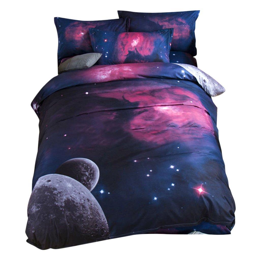 bennyuesdfd Bettwäsche Galaxy Sets Baumwolle 3D Digitaldruck Weltall 2 Teilig Bettbezug Weltraum Galaxie Sterne Planeten (Blau, 150 x 210 cm)
