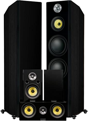 Fluance Signature Series Hi-Fi 5.0 Surround Sound Home Theater Speaker System Including Three-Way Floorstanding Towers, Center Rear Speakers HFHTB