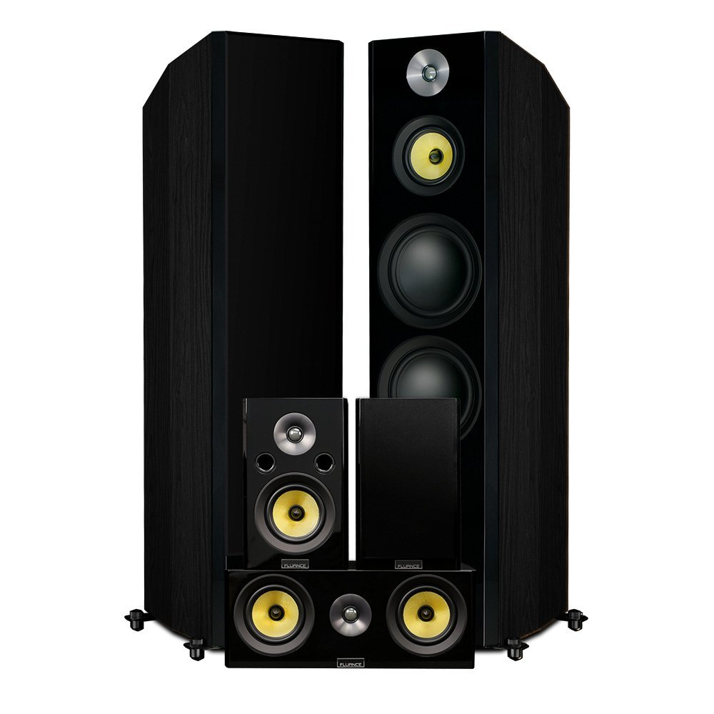 Fluance Signature Series Hi-Fi 5.0 Surround Sound Home Theater Speaker System Including Three-way Floorstanding Towers, Center & Rear Speakers (HFHTB) by Fluance