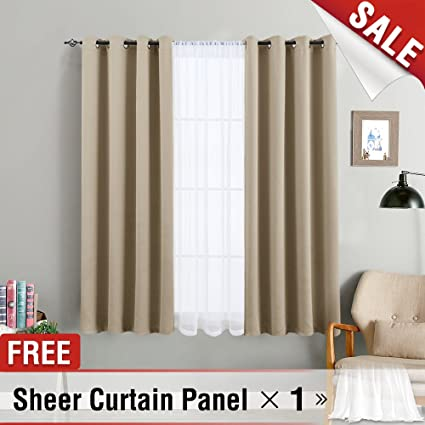 Blackout Curtains For Bedroom Triple Weave Light Blocking Window Curtain Panels Living Room 63 Inches