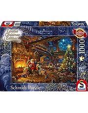 Schmidt - SCH-59494 - Santa Claus and his elves, 1000 stukjes Puzzel - vanaf 12 jaar - van Thomas Kinkade