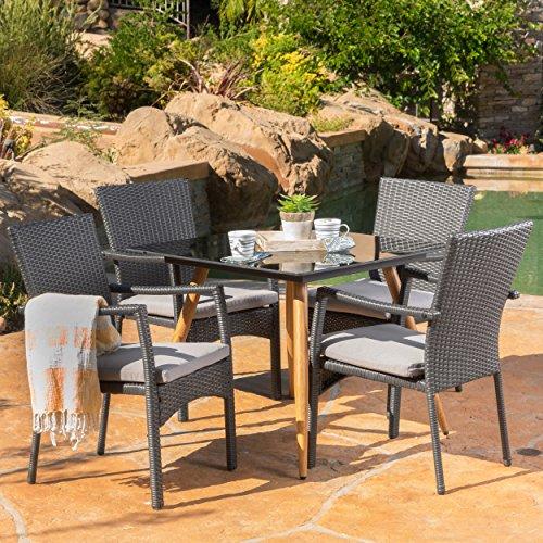 Bisbane Outdoor 5 Piece Grey Wicker Dining Set With Dark