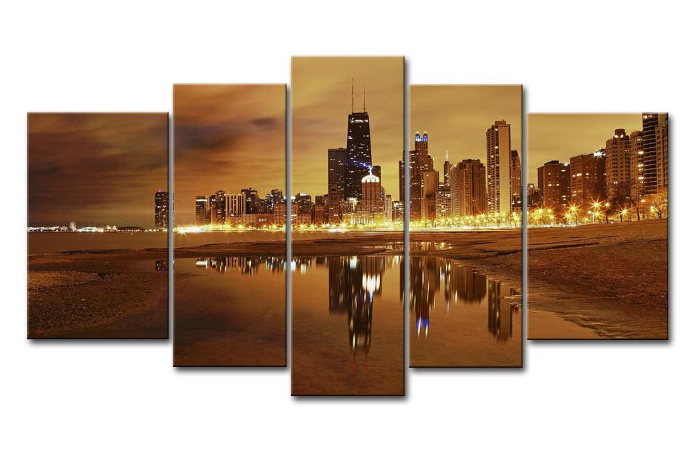 dbe269b72e75 Amazon.com  5 Panel Wall Art Painting Chicago Skyline Prints On Canvas The  Picture City Pictures Oil for Home Modern Decoration Print Decor  Posters    ...