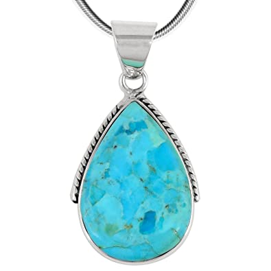Amazon turquoise pendant necklace in sterling silver 925 jewelry mozeypictures Image collections