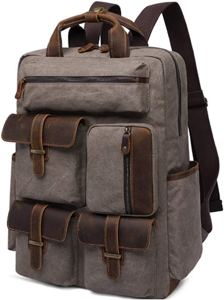 Canvas Leather Laptop Backpack Vintage Multi Pockets College School Bag Fits 15.6 Computer Travel Anti-Theft Large Satchel for Men Women
