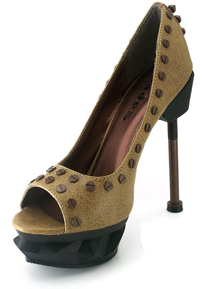 Hades Womens IRONPUNK Steampunk Styled Peep-toe Pumps
