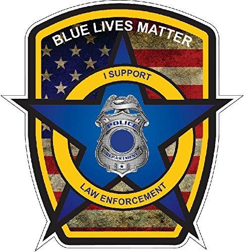 Thin Blue Line Police Officer BLM American Flag Vinyl Decal Sticker Car Truck 5 x 5.5