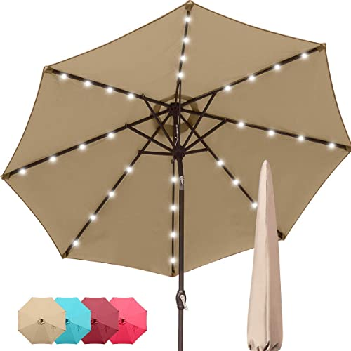 Quictent 9Ft Patio Umbrella 32 Solar LED Lighted Outdoor Garden Table Canopy Market Umbrella Pool Backyard