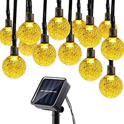 HaloTech Solar String Lights, 21FT 50 LED Outdoor Crystal Ball Lighting for Indoor/Outdoor, Patio, Lawn, Garden, Wedding, Party, Christmas Decorations