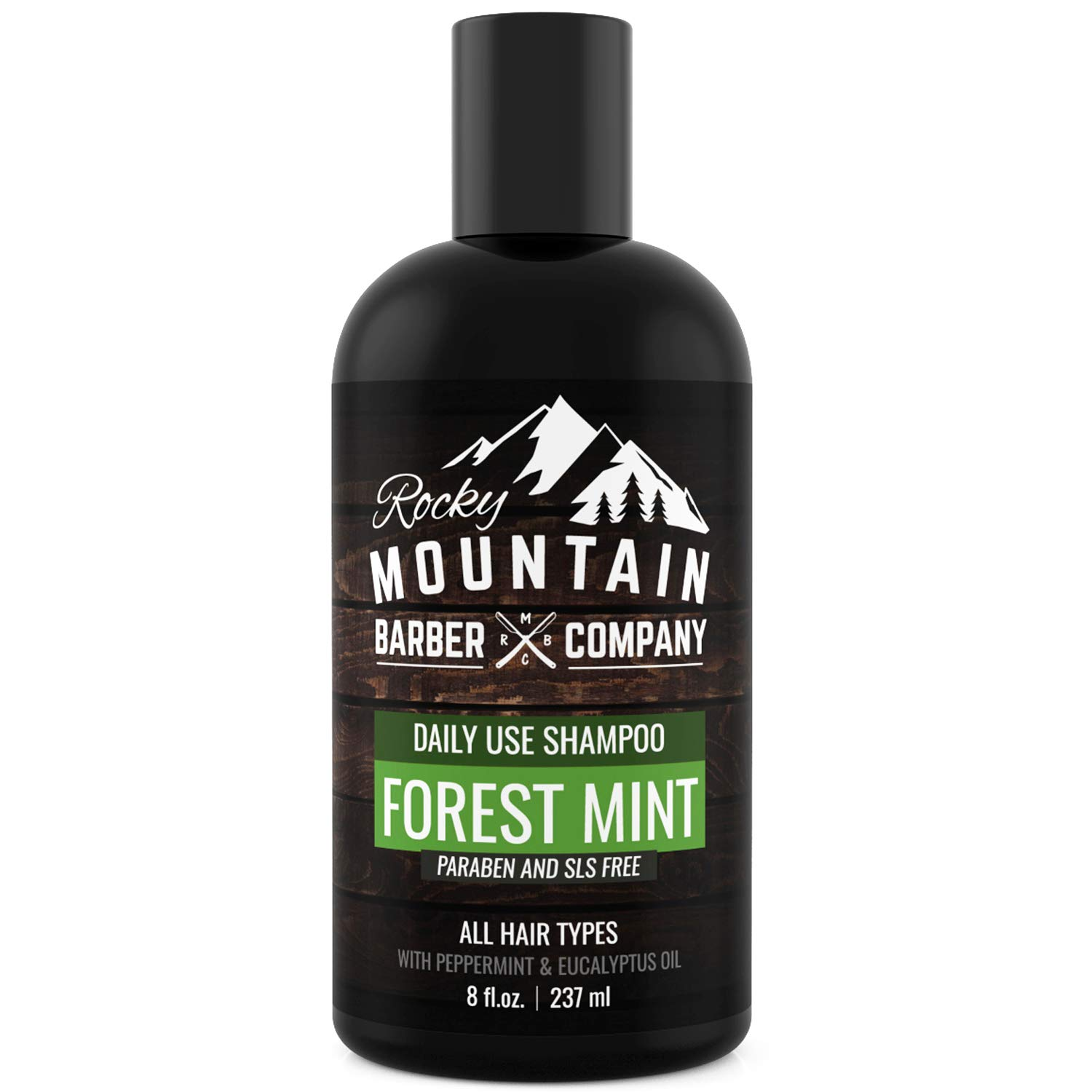 Men's Shampoo - Tea Tree Oil, Peppermint & Eucalyptus for All Hair Types – Prevents Dry Itchy Scalp – Paraben, SLS & DEA Free - 8oz - by Rocky Mountain Barber Company