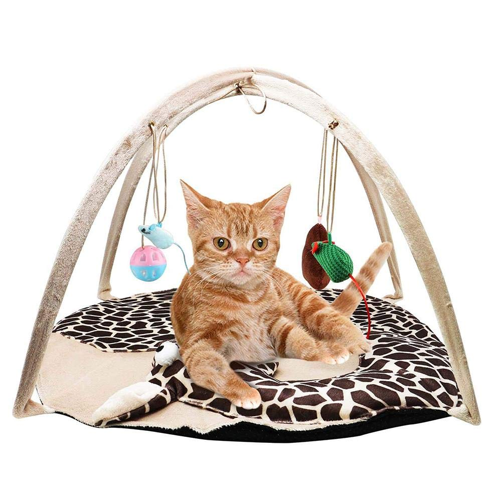 HUZHAO Dog cat Activity Game pad, pet Packed Bed with Hanging Toy Bell Ball and Mouse Interaction Foldable Kitten House Tent Mouse Multi-Function Play Kitten Relax Bell Wrinkle Toy Kennel mat