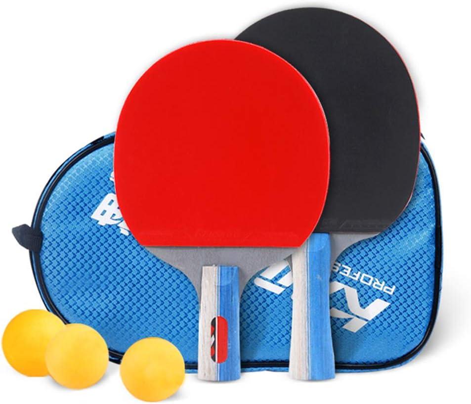 DGYAXIN Palas Ping Pong, Raquetas de Ping Pong Avanzada línea de Doble Capa de Madera de 7 Capas de Goma, 2 Raquetas y 3 balones, manija cómoda, Competencia Deportiva Escolar