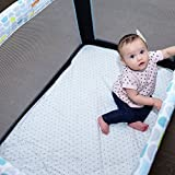 Pack N Play Mattress Pad Cover Protector - Fitted Baby Playard Crib Quilted Padded Mattress Topper Mini Crib Portable Crib – Hypoallergenic, Foldable, Waterproof, Machine & Dryer Safe